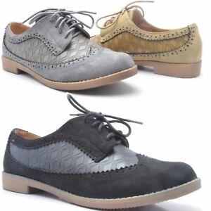 Nuevo-Mujer-Liso-Mocasines-Casuales-Cuero-Calado-Con-Cordones-Zapatillas