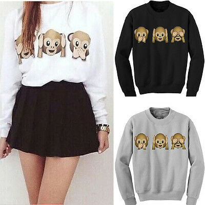 New Women Long Sleeve 3D Emoji Print Pullover Outwear Jumper Loose Sweater Tops