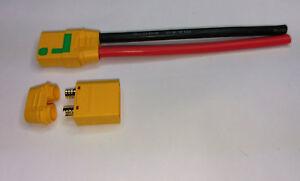 1-x-XT90s-Buchse-Stecker-Set-Antiblitz-Weiblich-mit-10cm-Silikon-Kabel-10AWG