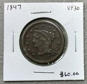 1847-CORONET-HEAD-LARGE-CENT-VERY-FINE-CONDITION-2-95-MAX-SHIPPING-C1418