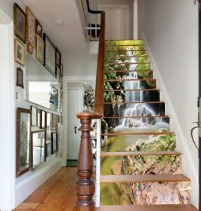 Details About 13pcs 3d Waterfall Stair Risers Stickers Photo Mural Vinyl Wallpaper Home Decals