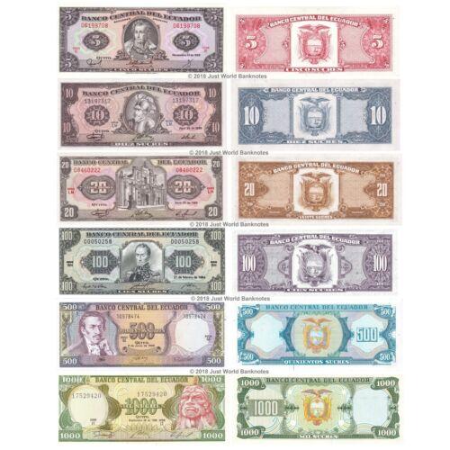 20 1000 Sucres Set of 6 Banknotes 6 PCS UNC 10 100 Ecuador 5 500