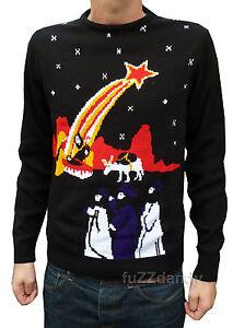 Christmas-Xmas-JUMPER-vtg-indie-retro-80-039-s-Nativity-novelty-Jesus-Kitsch-Ugly