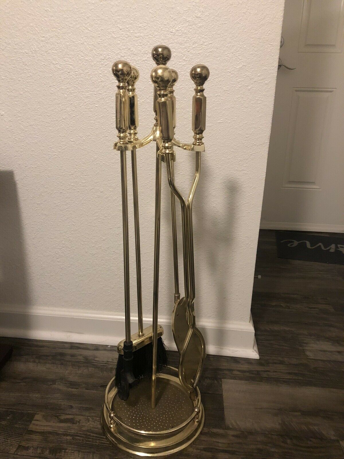 Vintage Brass Fireplace Tools Set 5 Piece Stand Poker Tongs
