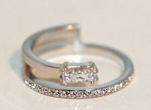 c0e276940428d Details about Swarovski Original Ring Gray Rhodium-Plated Size 55 New