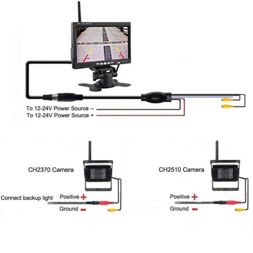 """2 X Wireless Rear View Backup Camera Night Vision 7/"""" Monitor For RV Truck Bus"""