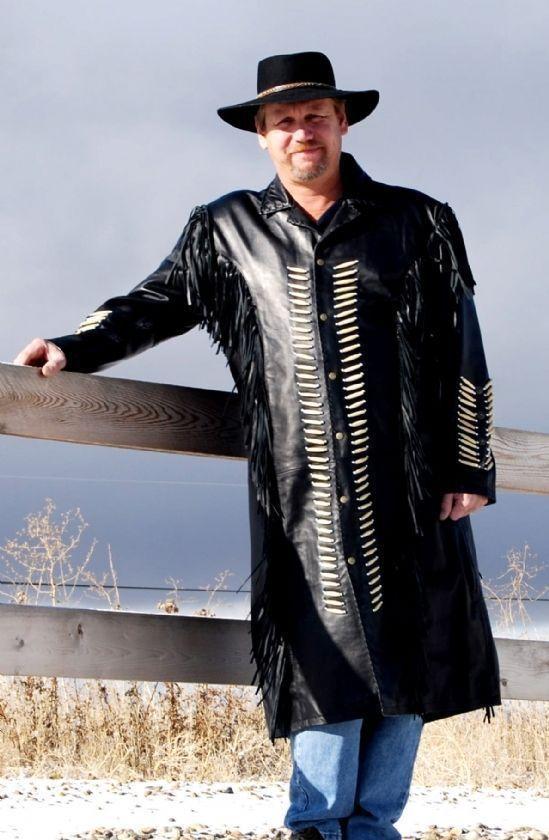 Herren Western Wear Suede Leder Long Leder Coat Cowboy Style Fringe Beads
