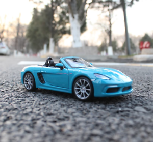 Bburago-1-24-Porsche-718-Boxster-Blue-Diecast-Model-Racing-Car-NEW-IN-BOX