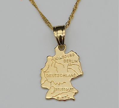 Italy Map Country Italia Europe 18K Gold Plated Necklace Chain Pendant Fashion