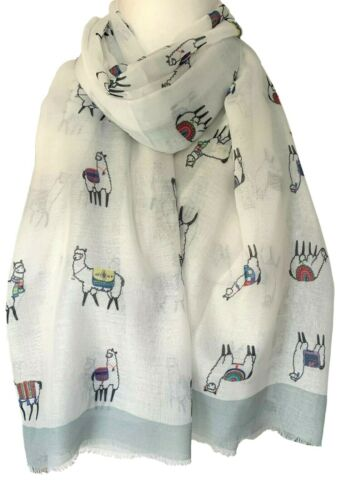 Llama Scarf Ladies Cute Llamas Wrap Cream Grey Shawl Cotton Blend Wrap
