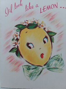 1948-Vtg-ANTHROPOMORPHIC-LEMON-LADY-Sour-Puss-Rust-Craft-BIRTHDAY-GREETING-CARD