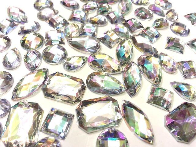 80 Faceted Acrylic Sew On, Stitch On, Stick on DIAMANTE Crystal Rhinestone GEMS