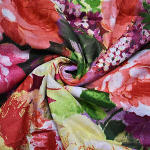 43-034-Breite-Multi-Baumwollgewebe-Blumendruck-Designer-Naehen-Stoff-Kleid-Von-Hof