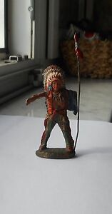 ELASTOLIN NATIVE WARRIOR CHIEF INDIAN FIGURE PREWAR GERMANY ORIGINAL