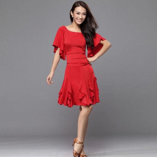 Latin salsa tango rumba Cha cha Ballroom Dance Dress top /& skirt#W248 3 Colors
