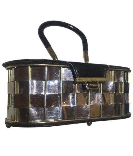 Vintage Metallic woven Basket Box Purse Bag Handba