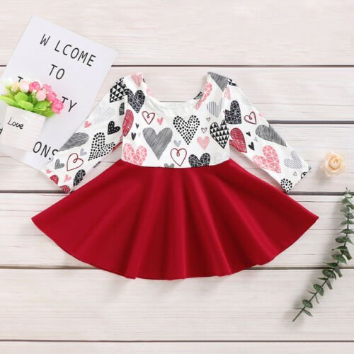Toddler Baby Girl Long Sleeve Valentine/'s Day Heart Print Princess Dress Clothes