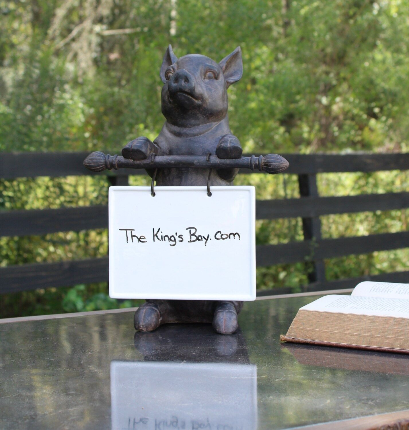 Cute Pig with Ceramic Message Board For Restaurant or Kitchen Sign Desk or Table