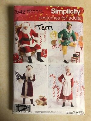 Christmas Holiday Costumes Santa Mrs Claus Elf Sew Pattern Simplicity 2542 Xs M For Sale Online Ebay
