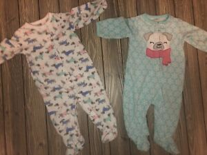 NWT Carters Bunny Sloth Baby Girls Footed Fleece Sleeper Pajamas 6 9 Months
