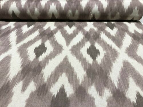 Double Width 280cm Wide French Retro Designed Ikat Linen Fabric in Grey