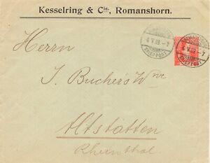 SCHWEIZ-034-ROMANSHORN-BRIEFPOST-034-K2-Helvetia-10-C-Grundmarke-Zumstein-104-1909