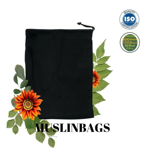 "friendly* Durable 12/""x16/"" inches BLACK Drawstring bags*Eco Choose Quantities"