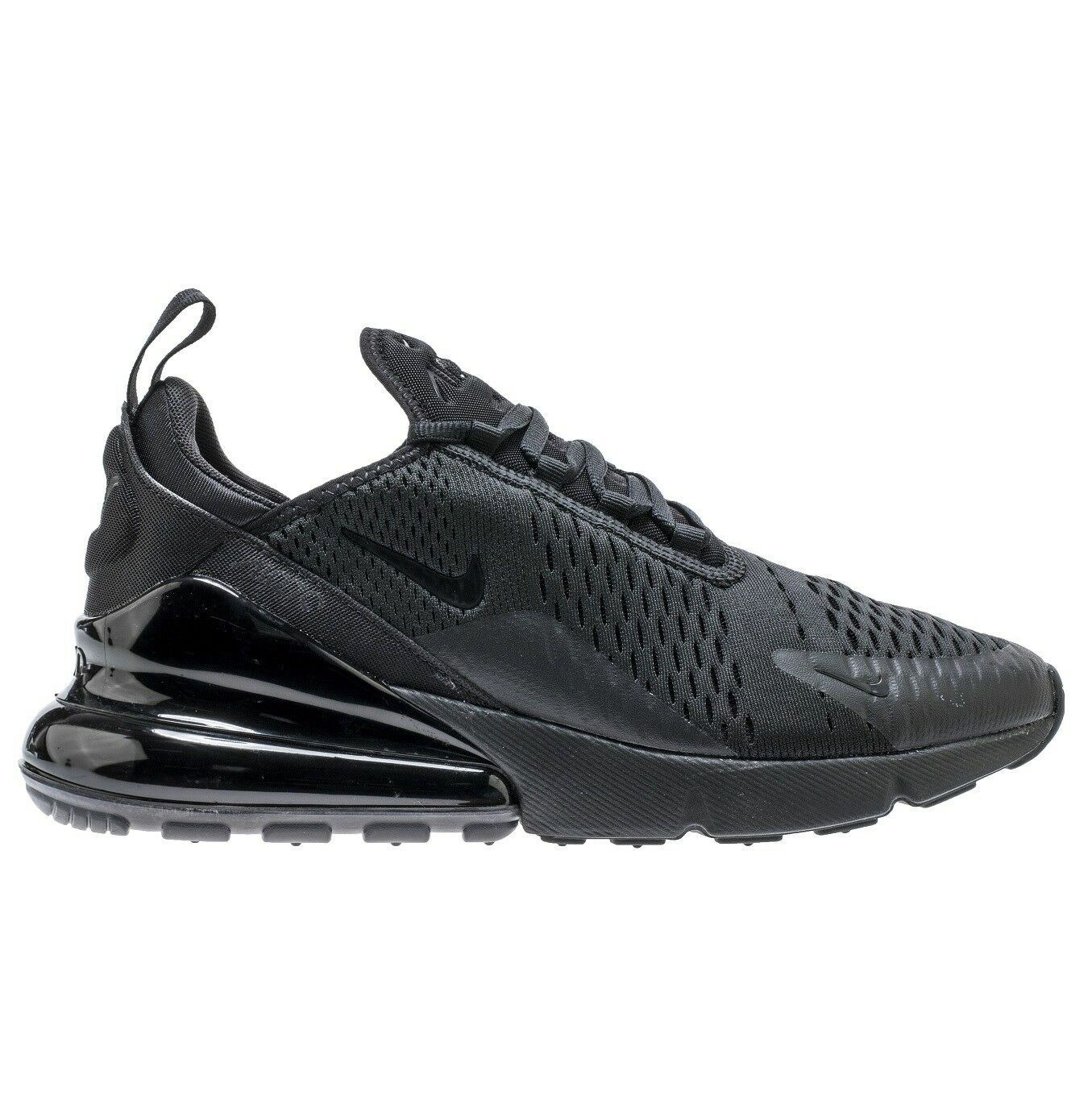 Nike Air Max 270 Mens AH8050-005 Triple Black Mesh Knit Running Shoes Size 8.5