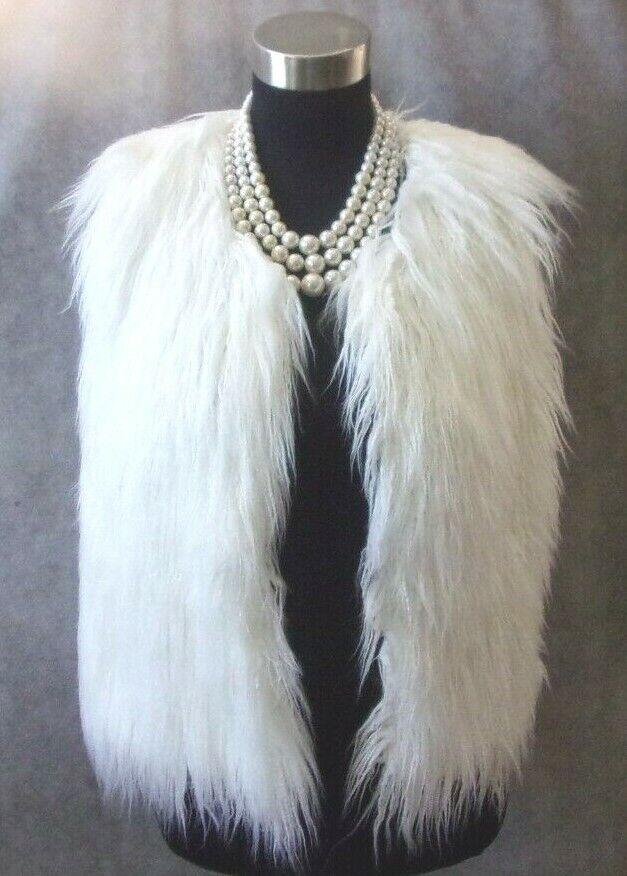 C. Christian Los Angeles Vest Sz M Knit White Faux Sheep Lamb Sweater Cardigan