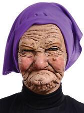 Old Woman Granny Latex Wrinkled Face Head Purple Scarf Mask Costume Mr131135