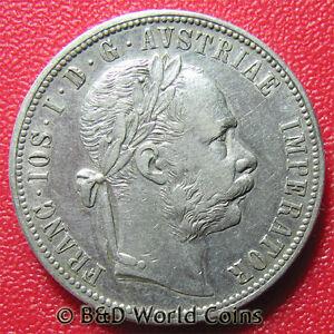 1878-AUSTRIA-1-FLORIN-SILVER-FRANZ-JOSEPH-I-AUSTRIAN-COLLECTABLE-WORLD-COIN-29mm