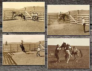 Horse bronc busting corral TX 1907 photos lot CHOICE 4 5x7 or request digital CD