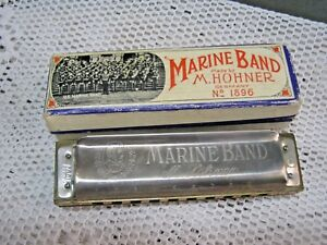 vintage germany m hohner marine band harmonica 1896 a440 key of c w box ebay. Black Bedroom Furniture Sets. Home Design Ideas