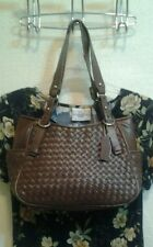 ladies handbags  BROWN WOVEN PATTERN LEATHER SATCHEL BY ST JOHN'S BAY