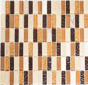 Das Bild Wird Geladen Glasmosaik Naturstein Staebchen Beige Braun Wand  Sauna Bad