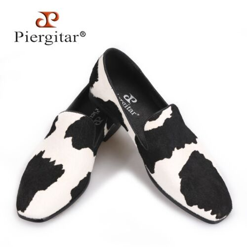 PIERGITAR Men/'s Black and white stitching horse mane Loafers Shoes size 5~14.5