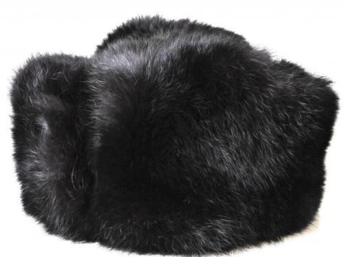 Rabbit Full Fur Russian Hat Ushanka Real Fur Black Hat