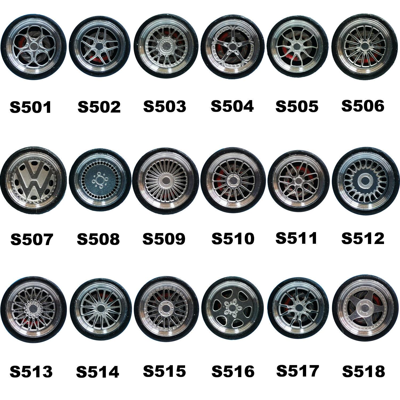Rubber tyres Alloy Rims 1:64 scale streichholzsc R0T4 Caliper