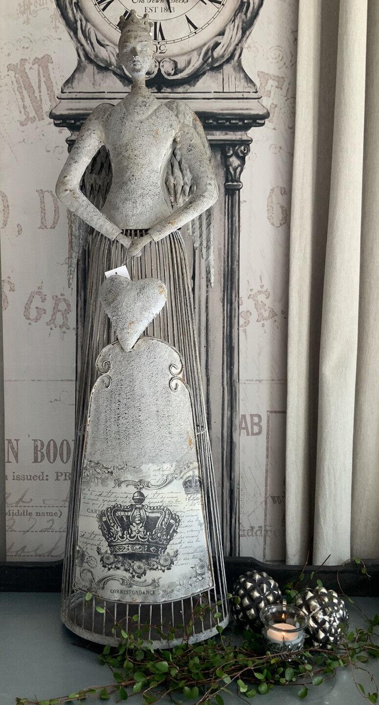 ~~~ gran Shabby angel con corazón ~~~ Ángel metal Antik gris 86,5 cm nuevo