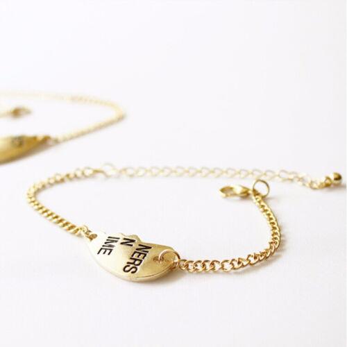 2X Best Friends Forever Split Heart Pendant Bracelet Set for Friendship Gift MZT