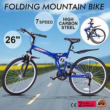Bici Bicicletta Pieghevole 26 Pollici 7 Velocità MTB Nero Mountain Bike Shimano