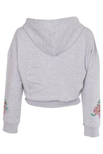 New Womens Ladies Floral Print Pullover Crop Hoodie Sweatshirt Crop Top