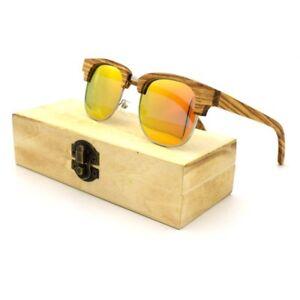 707f4c96b2 Image is loading Unisex-Polarized-Sunglasses-Natural-Wood-Handmade-Box-Blue-