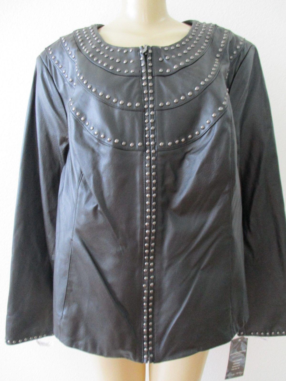 Pamela  Mccoy Negro Con Tachas 100% cuero chaqueta de manga larga talla 2X-Nuevo Con Etiquetas  249  tienda de ventas outlet