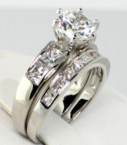 CZ Platinum EP Wedding Bridal Engagement Ring Set CLASSIC 3.86 Ct SIZE 5