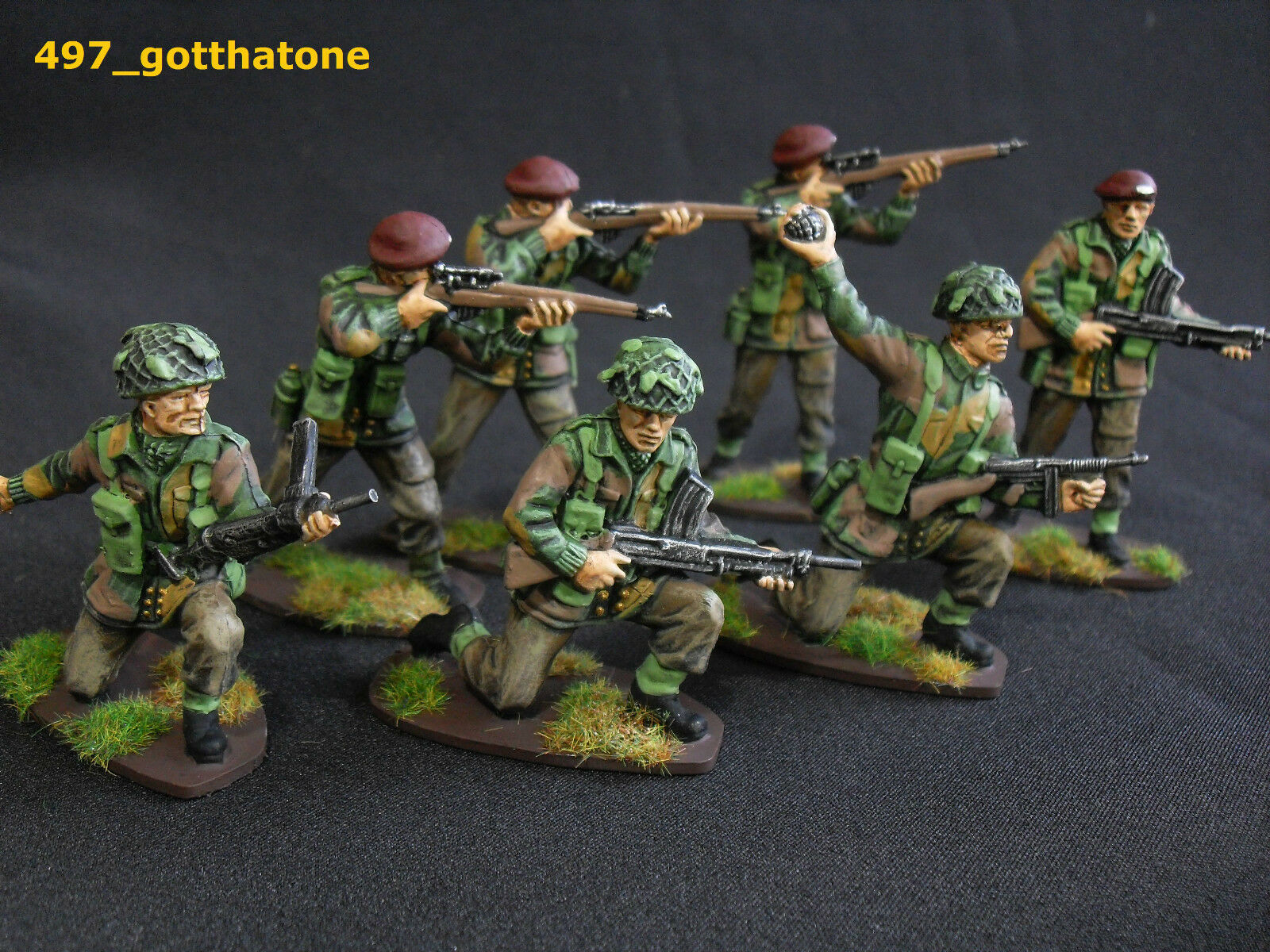 Airfix 1 32 congreened and professionally painted British paratroops ww2 . 54mm