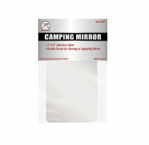 """Rothco 498 Camper/'s Mirror 3/"""" X 4 /"""" Stainless Steel-double Sided"""