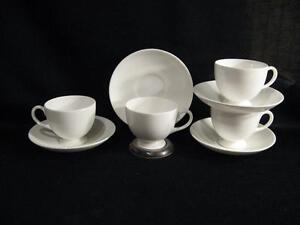 WEDGWOOD-WHITE-BONE-CHINA-LEIGH-SHAPE-FOOTED-CUPS-amp-SAUCERS-FOUR-SETS