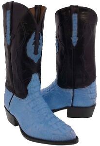 d89252189e9ee Details about Mens Baby Blue Genuine Crocodile Leather Cowboy Boots Exotic  Western Hornback