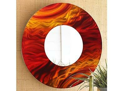 Large Round Red Metal Wall Art Abstract Mirror Accent Home Decor by Jon Allen